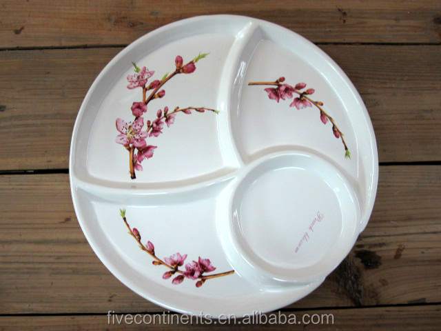 2015 New Decal Ceramic Round Divided Dinner Plate