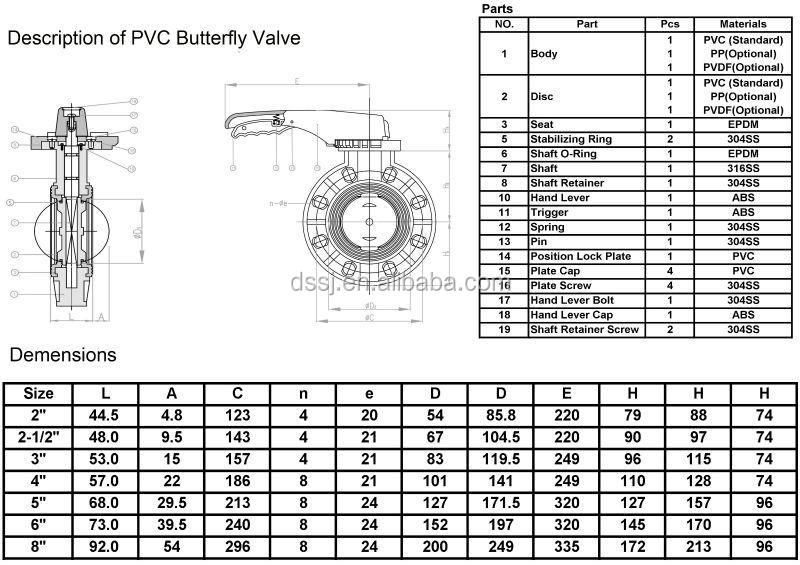 Water Butterfly Valves Small Size Dn50 Hand Lever Operated
