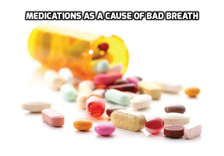 Medications as a cause of bad breath - Some medications can indirectly produce bad breath by contributing to dry mouth. Without saliva to wash away food particles and other odor-causing substances, dry mouth caused by medications can create an unpleasant odor in the mouth.