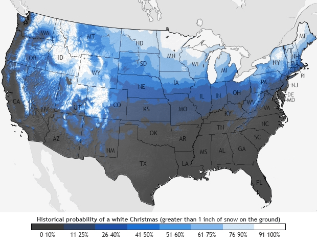 US map of probabilities for a white Chistmas