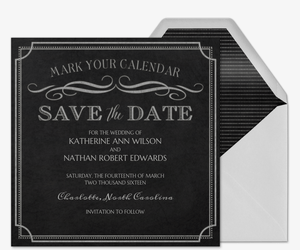 Chalkboard Chic Save The Date Invitation