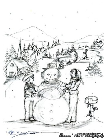 Drawing of Winter Fun: doonesberry: Galleries: Digital