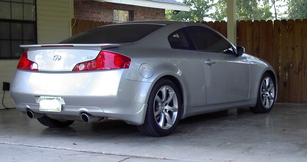 My G Coupe With Rear Splash Guards Only Before And After