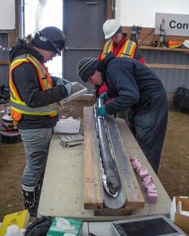Examining core in the field