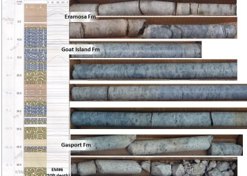 Photos of geological formations in core box