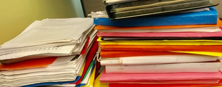 Photograph of brightly coloured file folders