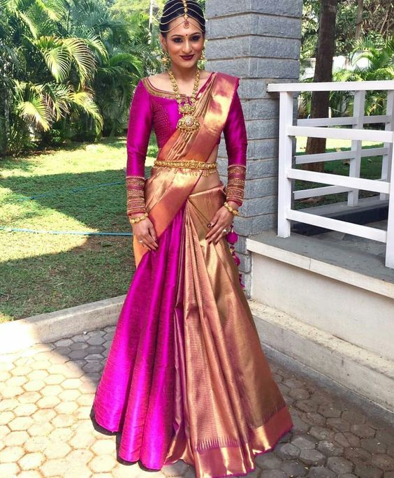 How to wear saree like Half Saree, Saree draping with Lehenga, how to wear modern saree for bride, modern saree drape with lehenga