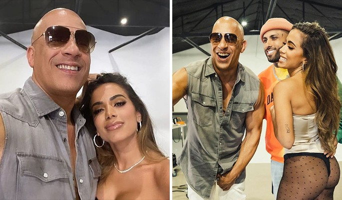 "Os astros Vin Diesel e Anitta se encontram para divulgar o Single ""Furiosa"""