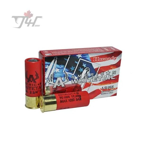 Hornady American Whitetail 12Gauge 1oz Rifled Slug 2-3/4inch 5rds