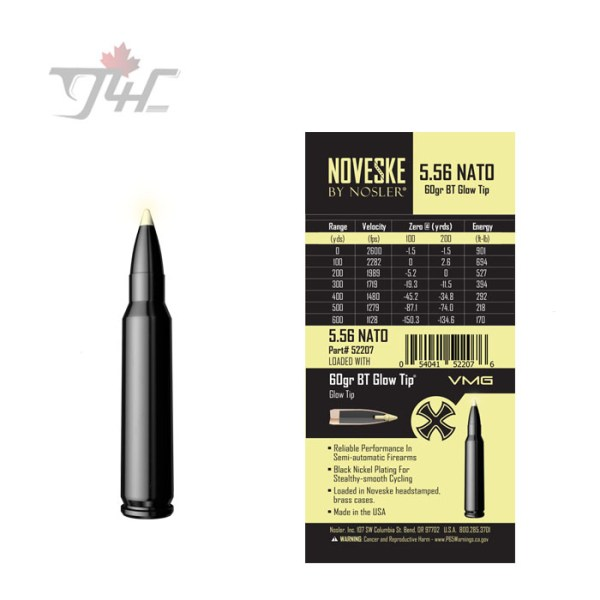 Nosler 52207 Noveske 5.56x45mm 60gr. BT Glow Tip 20rds