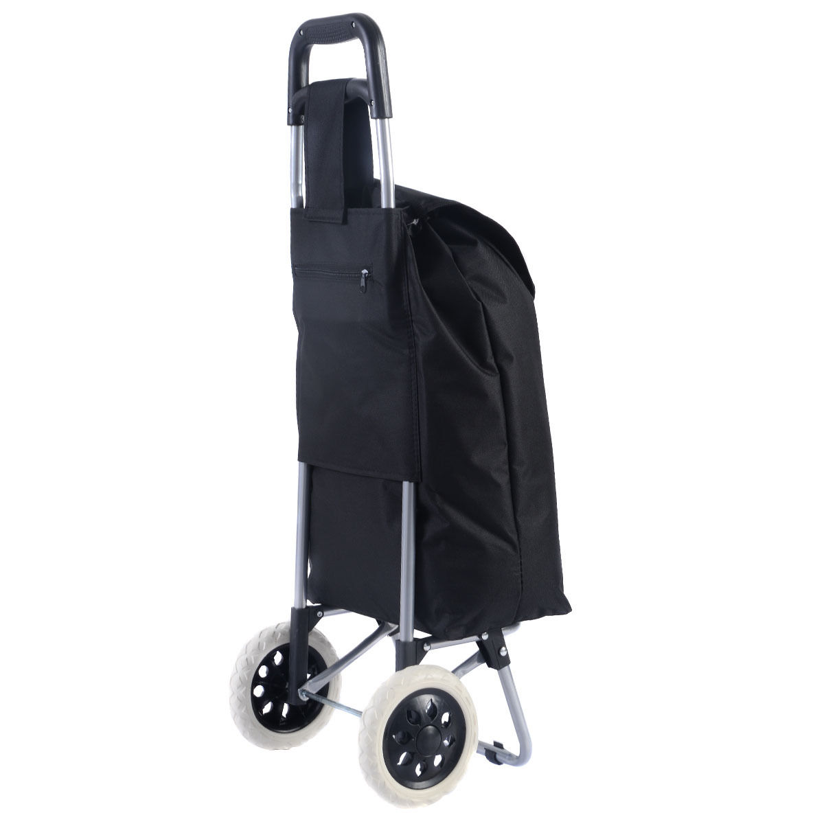 folding chair cart unfinished oak chairs black trolley travel shopping bag grocery rolling wheel