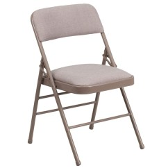Upholstered Folding Chairs Uk Beach Chair Cover 2 X Beige Office Fabric Padded Cushioned Seat Back Metal Frame Delux Comfort Camping Study