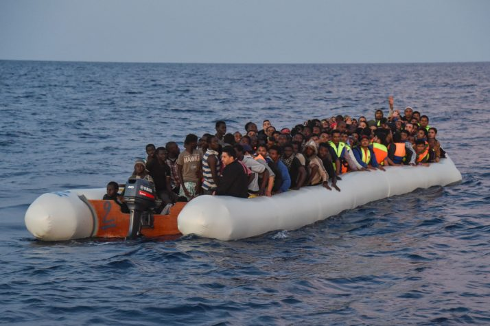 Image result for Refugees crossing the Med pictures