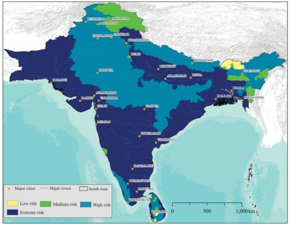 FIGURE 21. Climate change vulnerability map of South Asia based on exposure, sensitivity and adaptive capacity to multiple hazards.