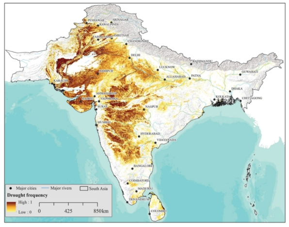 FIGURE 4. Spatial distribution of drought frequency based on 13 years' time series of MODIS imagery.