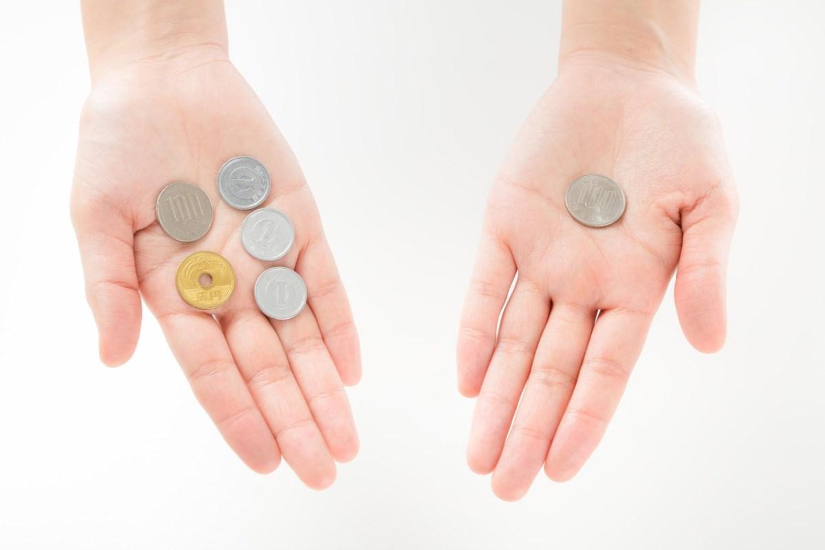 手の上の小銭