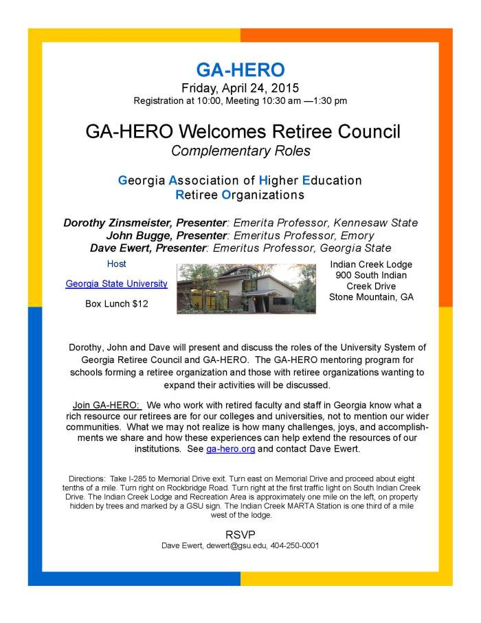 GA-HERO, Apr 24, 2015 Announcement GSU Indian Creek