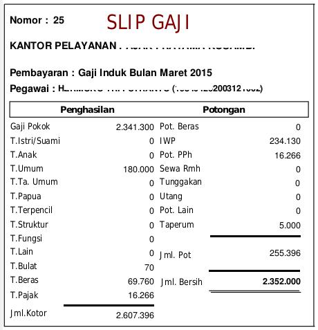 Contoh Slip Gaji PNS Golongan II