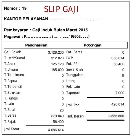 Contoh Slip Gaji PNS Golongan III