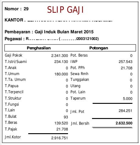 Slip Gaji Transfer Maret 2015-