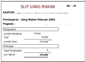 Uang Makan PNS Golongan II 2009