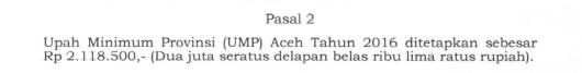 UMP Aceh Tahun 2016