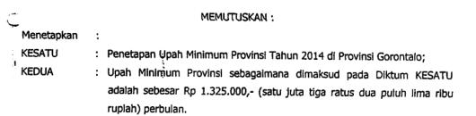 UMP Gorontalo 2014