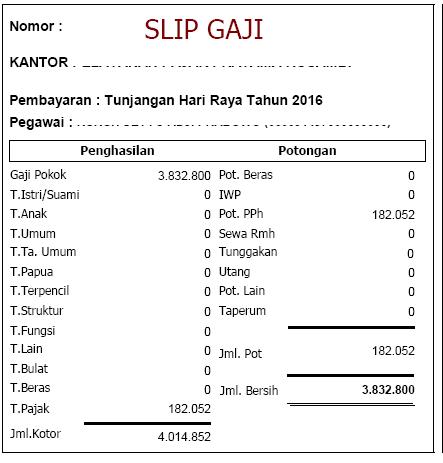 Contoh Slip THR (Gaji ke 14) Tahun 2016 Golongan IV