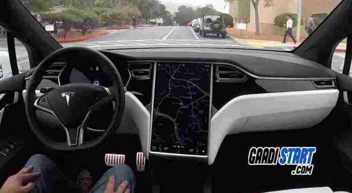 tesla self driven car