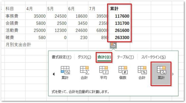 20190126クイック分析ツールの合計タブ行の累計