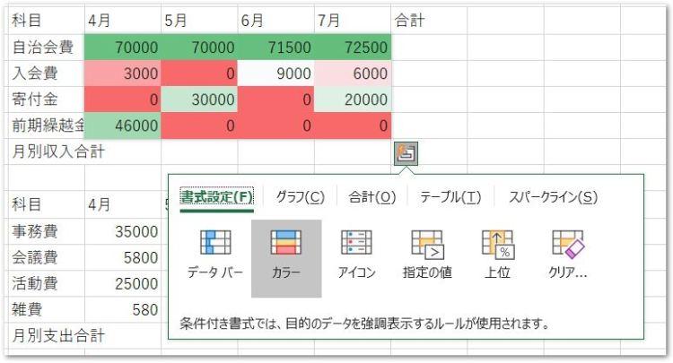20190126クイック分析ツールのカラー