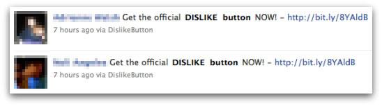 Alerta boton dislike Facebook