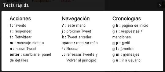 Keyboard Shortcuts o Atajos de Teclado de Twitter
