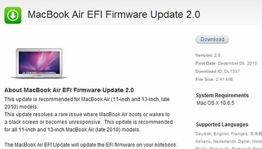 Actualizacion Apple MacBook Air 2010 problemas