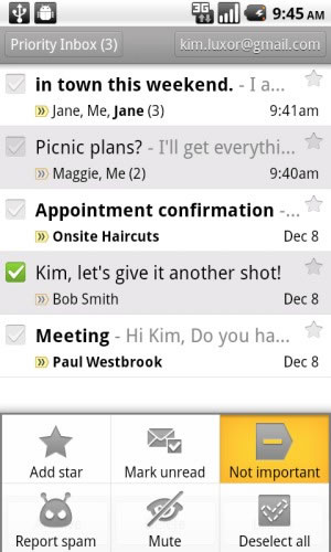 Gmail para Android Priority Inbox