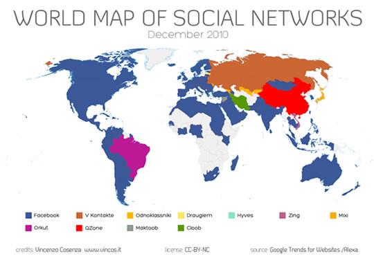 Mapa de Redes Sociales Mundo Diciembre 2010