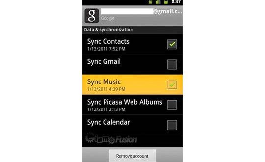 Opcion de Sincronizar Google Music con Android