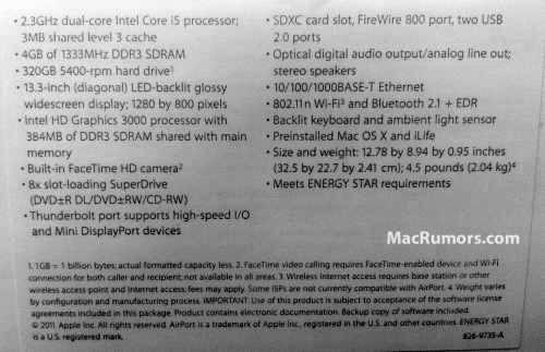 Nuevo MacBook Pro 13 pulgadas - Especificaciones