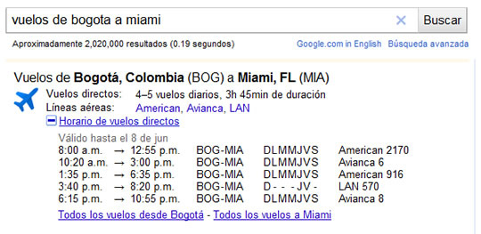Informacion de vuelos en Google - Bogota a Miami