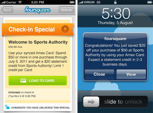 Foursquare y AMEX