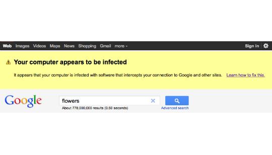 Alerta Malware en Google