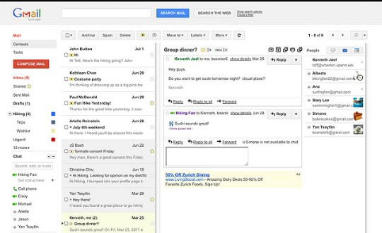 Gmail Panel de Vista Previa