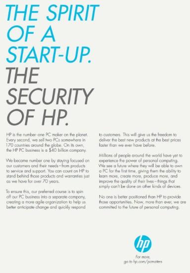 Ad HP separa negocio de pc