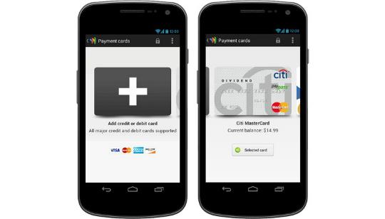 Google Wallet Visa, AMEX, MasterCard y Discover