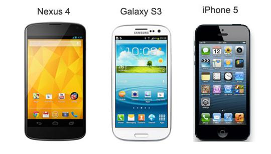 Comparación Nexus 4 Galaxy S3 iPhone 5