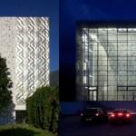 Edificio Transparente de Noche
