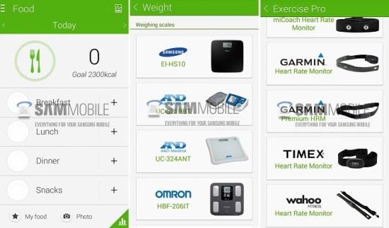 Samsung S Health Galaxy S5