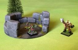 scratch built wargaming terrain - tower ruins