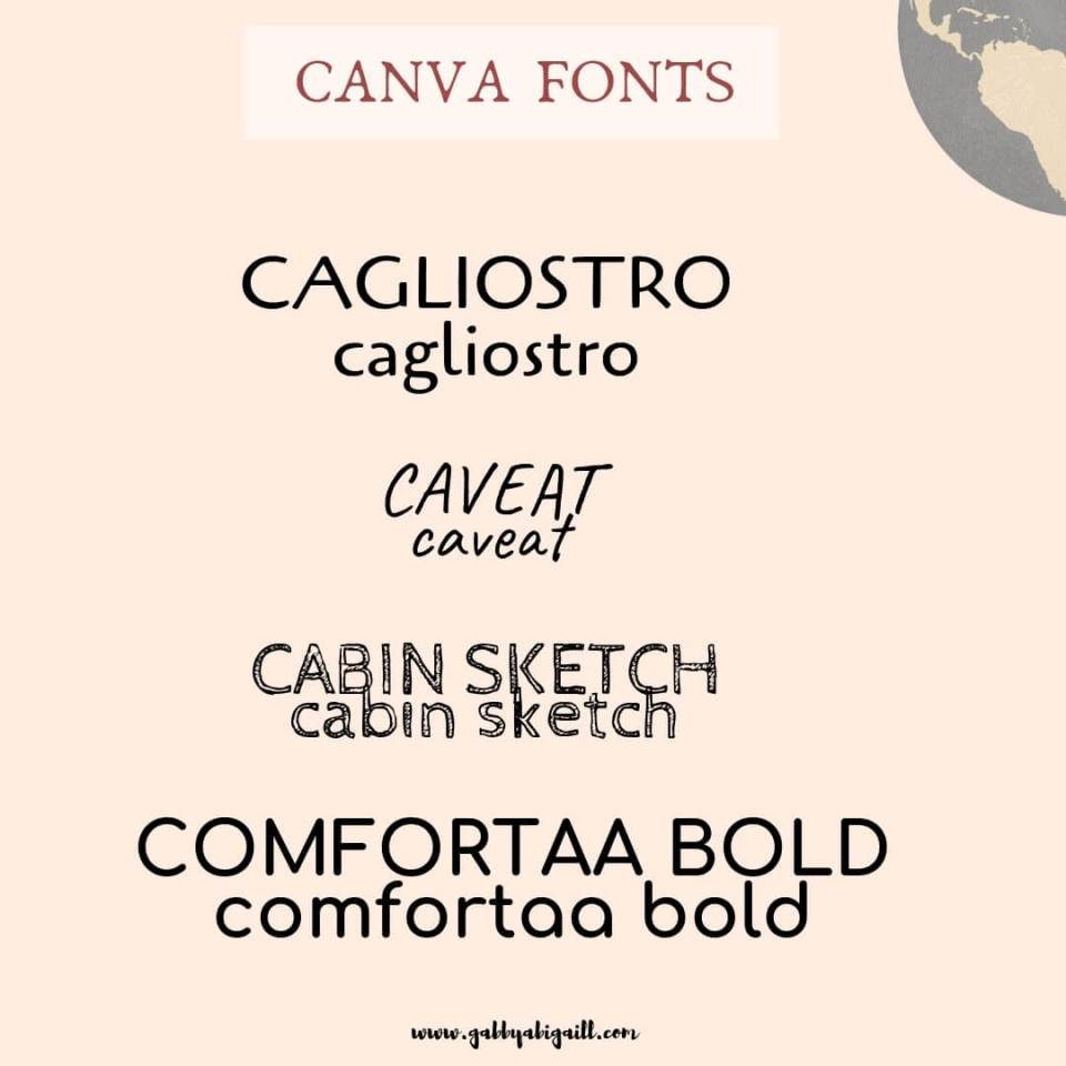 Bloggers Favorite: The best FONTS in Canva  - GABBYABIGAILL