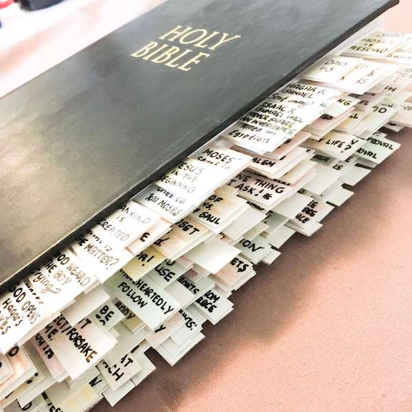 Side view of the NIV journaling bible with tabs
